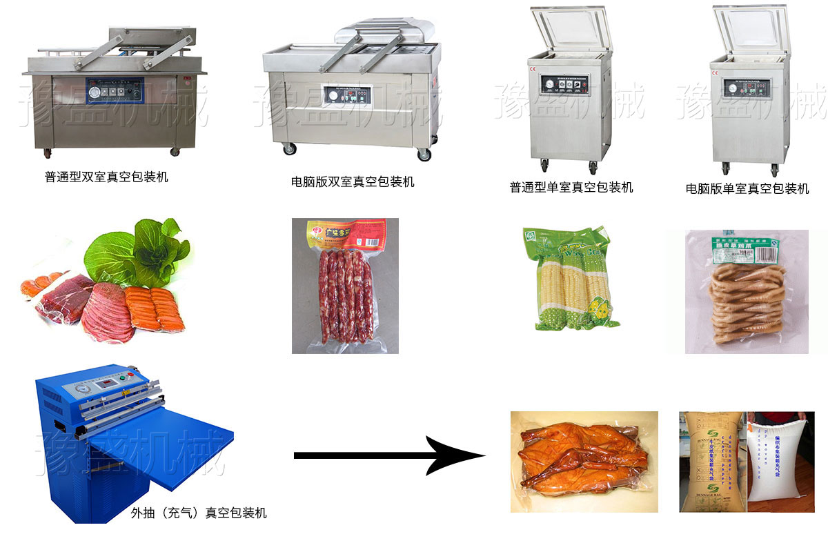 平板双室真空包装机的工作流程图